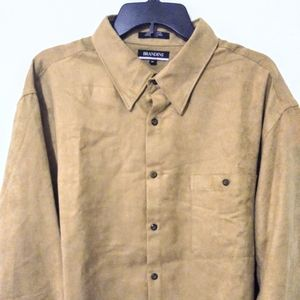 Brandini Men's XL Casual Button Front Shirt Brown